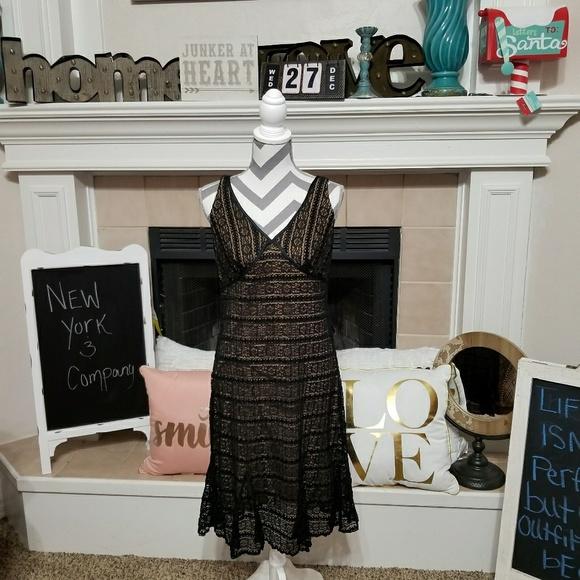 New York Company V Neck Black Lace Midi Dress